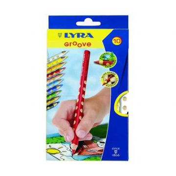 LYRA GROOVE SUPER JUMBO SIZE TRIANGULAR COLOURING PENCILS FULL SIZE WALLET of 10